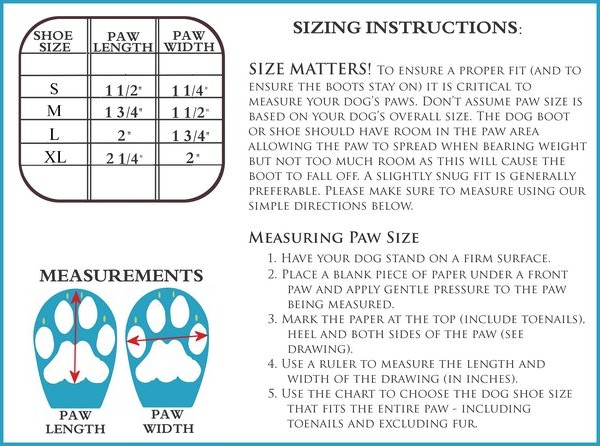 Mini Meshies Dog Boot Size Chart