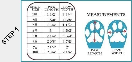Dog Boot Size Chart