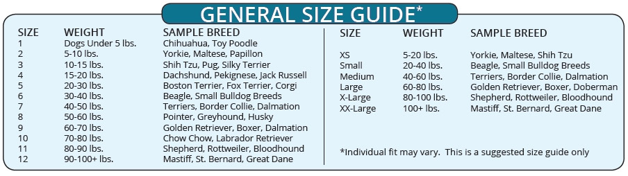dog boot size chart guide